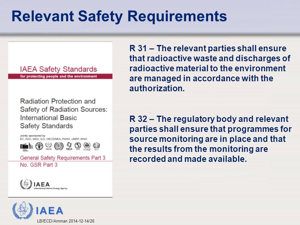 IAEA Relevant Safety Requirements R 31 – The relevant parties shall ensure that radioactive waste and discharges of radioactive material to the environment are managed in accordance with the authorization.