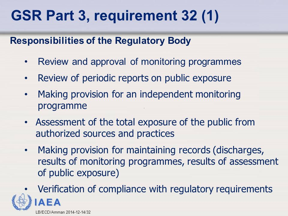 IAEA GSR Part 3, requirement 32 (1) Responsibilities of the Regulatory Body Review and approval of monitoring programmes Review of periodic reports on public exposure Making provision for an independent monitoring programme Assessment of the total exposure of the public from authorized sources and practices Making provision for maintaining records (discharges, results of monitoring programmes, results of assessment of public exposure) Verification of compliance with regulatory requirements LB/ECD/Amman 2014-12-14/32