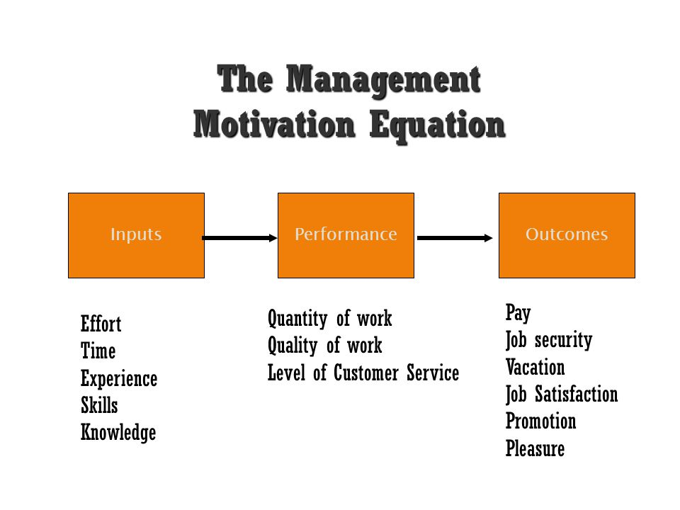 The Management Motivation Equation InputsPerformanceOutcomes Effort Time Experience Skills Knowledge Quantity of work Quality of work Level of Custome