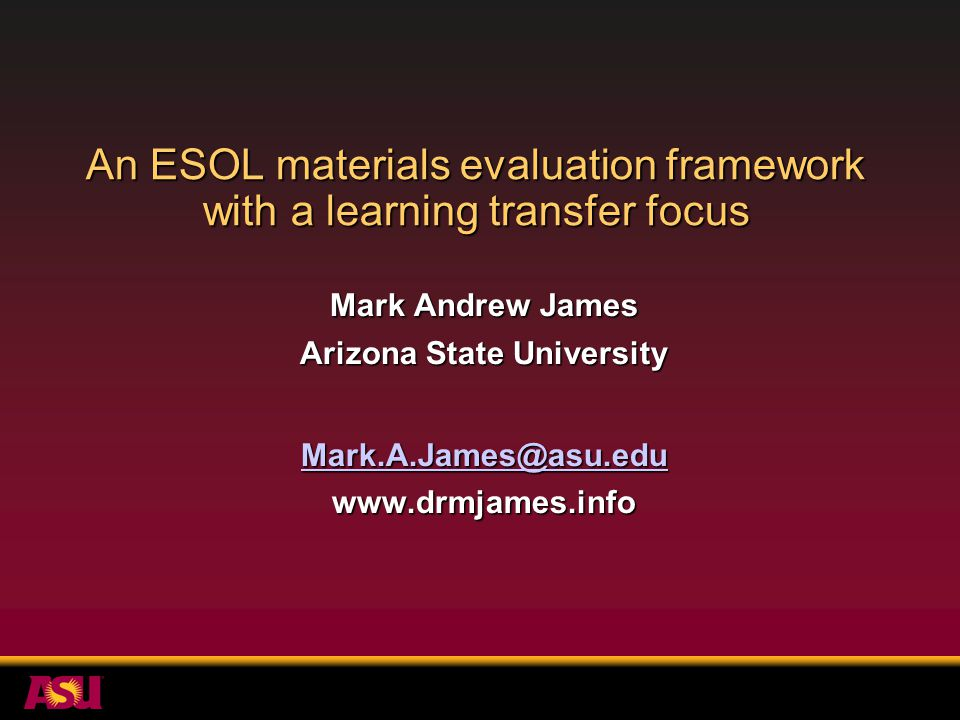 Summary Transfer of learning beyond the ESOL classroom is a basic goal of ESOL instruction.