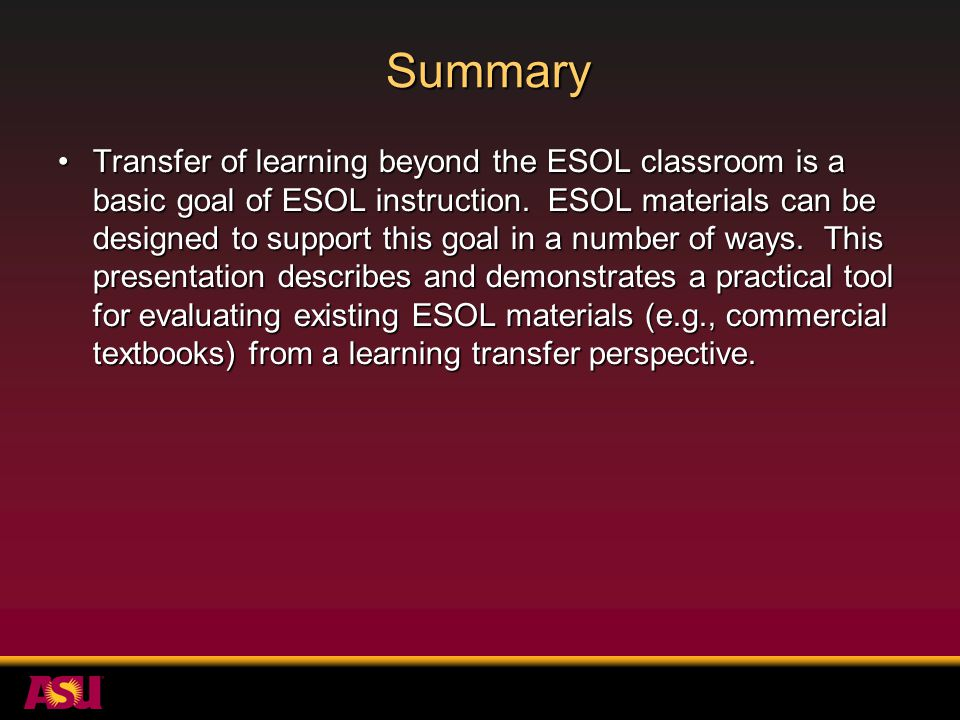 Why evaluate TESOL materials from a learning transfer perspective.