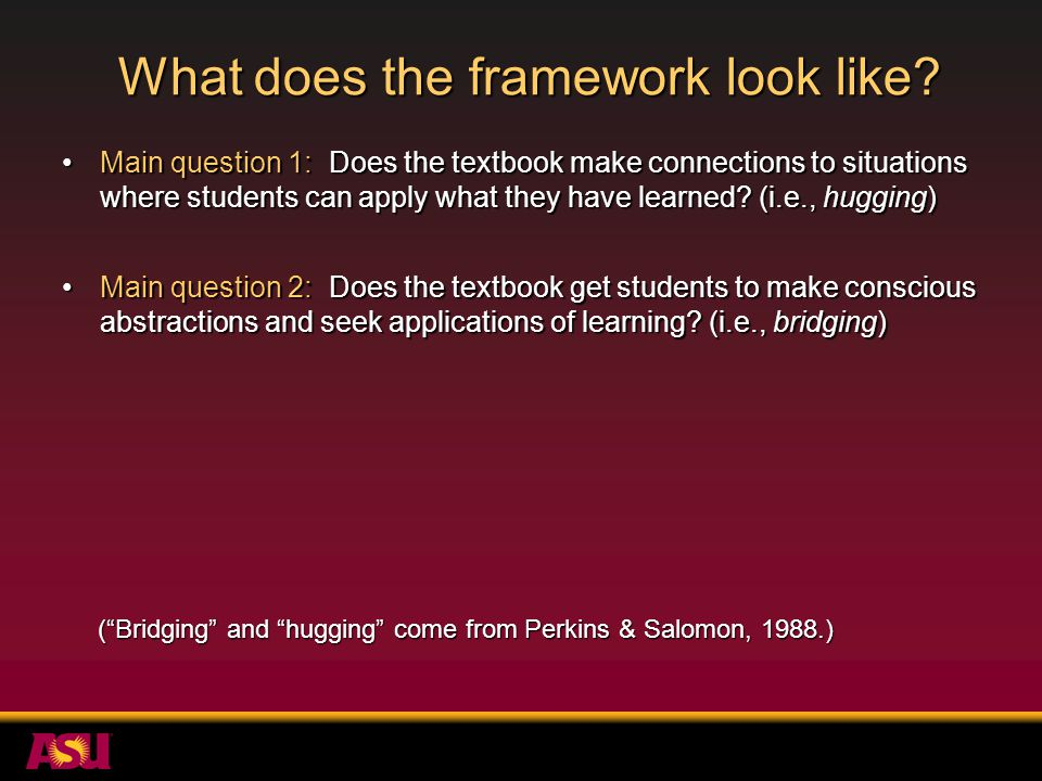 What does the framework look like.