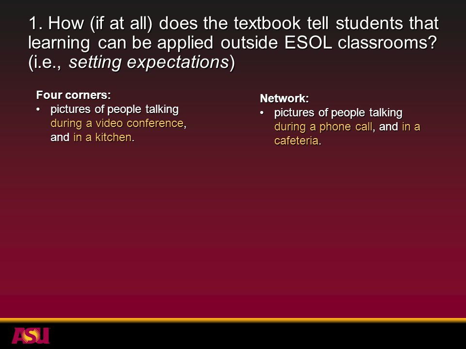 1. How (if at all) does the textbook tell students that learning can be applied outside ESOL classrooms? (i.e., setting expectations) Four corners: pi