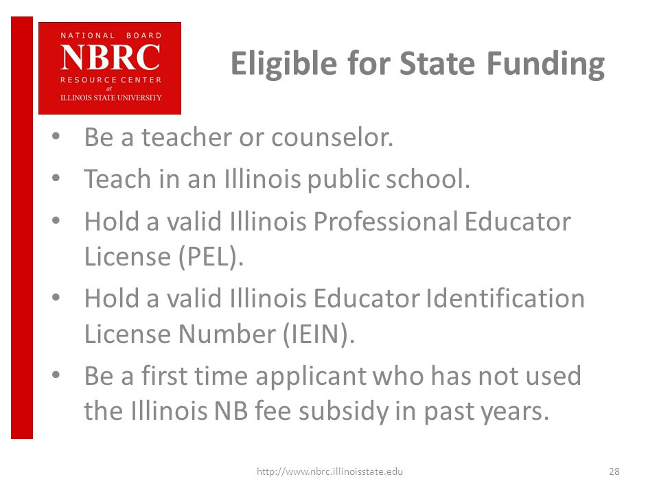 Eligible for State Funding Be a teacher or counselor.