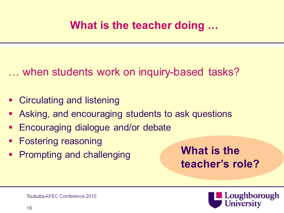 What is the teacher doing … … when students work on inquiry-based tasks?  Circulating and listening  Asking, and encouraging students to ask questio