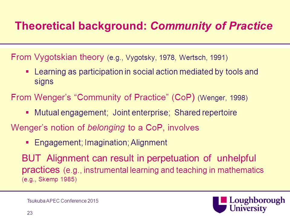 Theoretical background: Community of Practice From Vygotskian theory (e.g., Vygotsky, 1978, Wertsch, 1991)  Learning as participation in social action mediated by tools and signs From Wenger's Community of Practice (CoP ) (Wenger, 1998)  Mutual engagement; Joint enterprise; Shared repertoire Wenger's notion of belonging to a CoP, involves  Engagement; Imagination; Alignment BUT Alignment can result in perpetuation of unhelpful practices (e.g., instrumental learning and teaching in mathematics (e.g., Skemp 1985) Tsukuba APEC Conference 2015 23