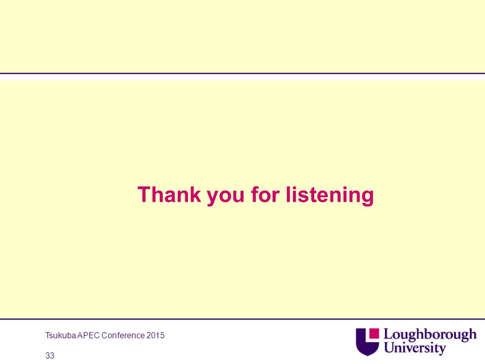 Thank you for listening Tsukuba APEC Conference 2015 33