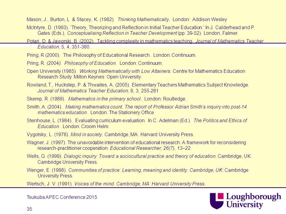 Mason, J., Burton, L. & Stacey, K. (1982). Thinking Mathematically. London: Addison Wesley McIntyre, D. (1993). 'Theory, Theorizing and Reflection in