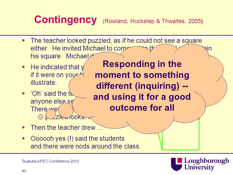 Contingency (Rowland, Huckstep & Thwaites, 2005)  The teacher looked puzzled, as if he could not see a square either.