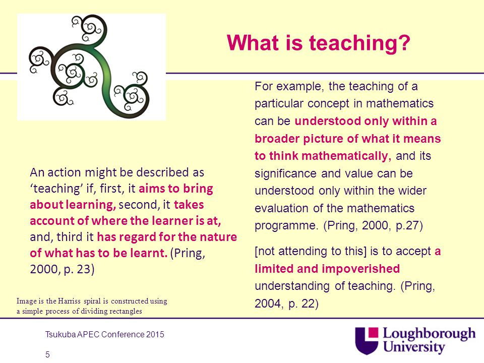 What is teaching? An action might be described as 'teaching' if, first, it aims to bring about learning, second, it takes account of where the learner