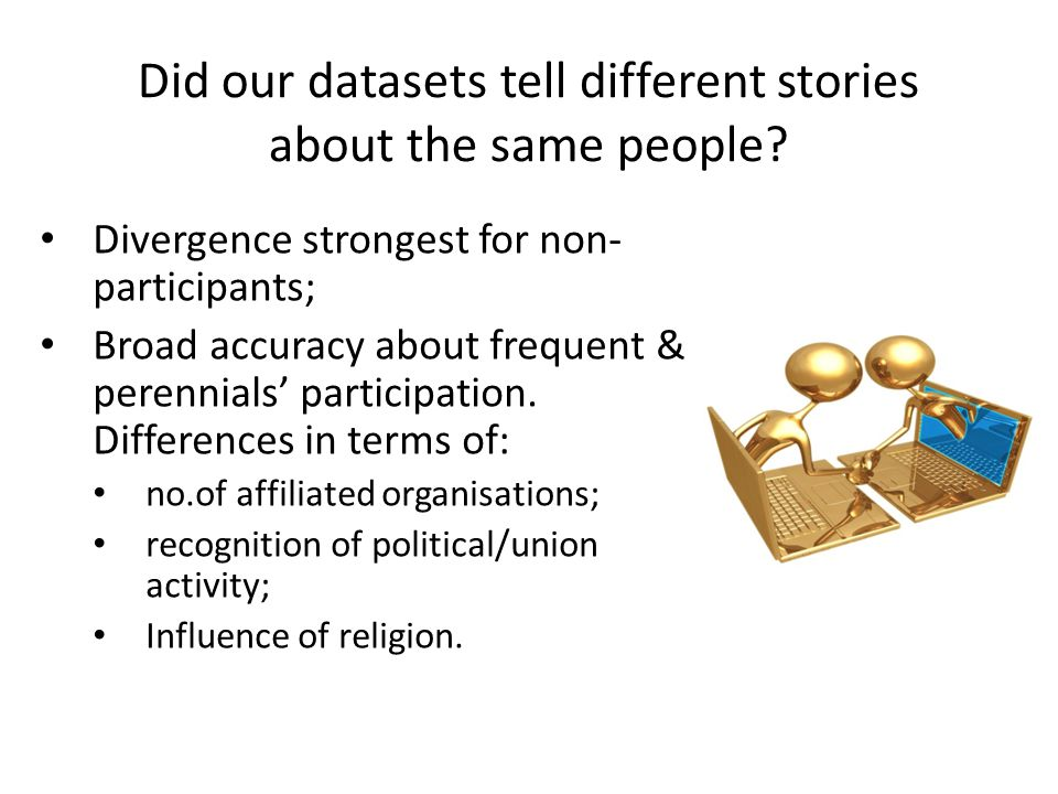 Did our datasets tell different stories about the same people? Divergence strongest for non- participants; Broad accuracy about frequent & perennials'
