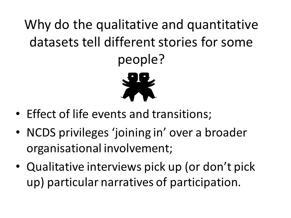 Why do the qualitative and quantitative datasets tell different stories for some people? Effect of life events and transitions; NCDS privileges 'joini