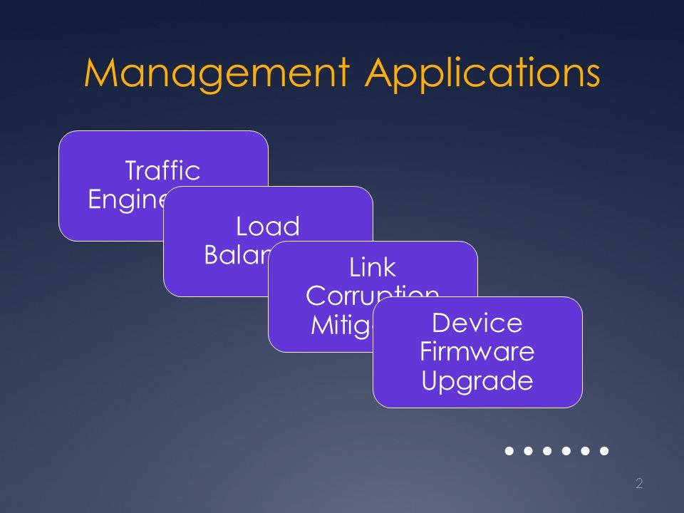 Management Applications 2 Traffic Engineering Load Balancing Link Corruption Mitigation Device Firmware Upgrade ……