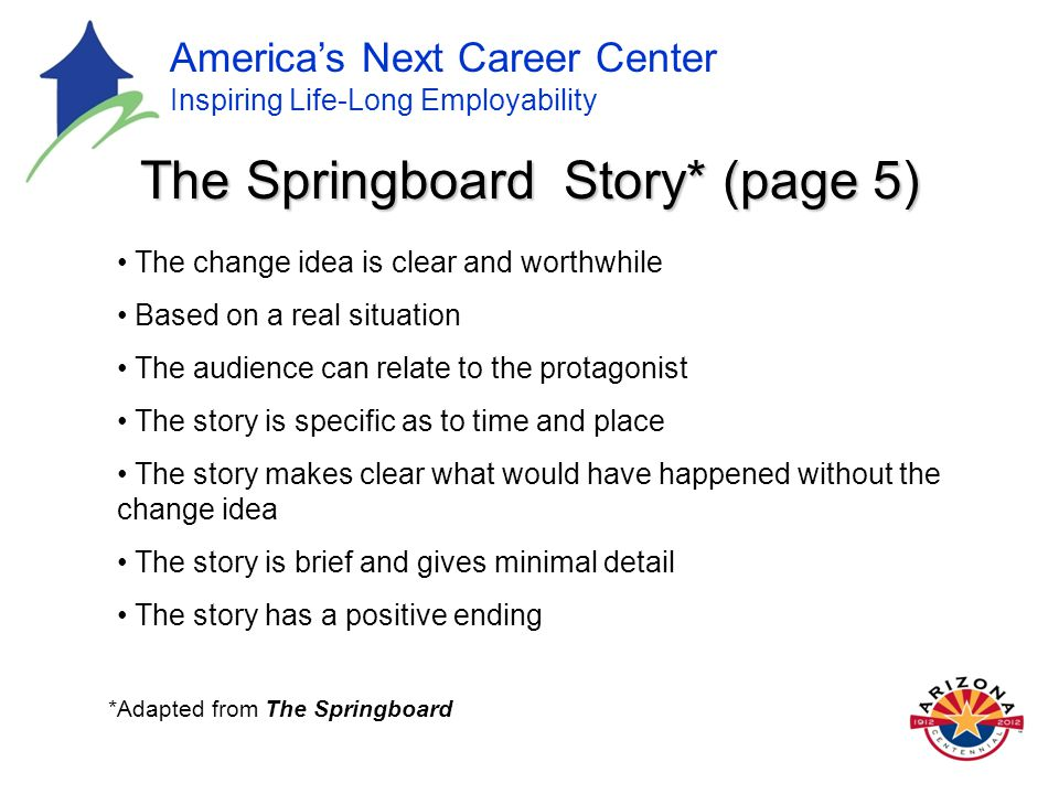America's Next Career Center Inspiring Life-Long Employability The Springboard Story* (page 5) The change idea is clear and worthwhile Based on a real situation The audience can relate to the protagonist The story is specific as to time and place The story makes clear what would have happened without the change idea The story is brief and gives minimal detail The story has a positive ending *Adapted from The Springboard
