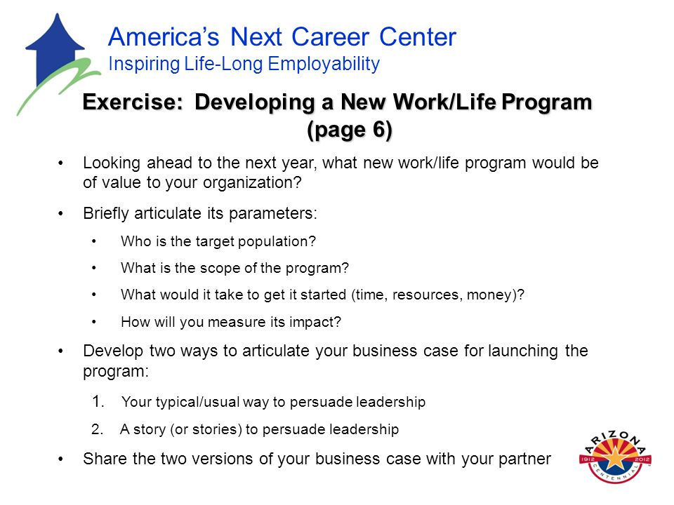 America's Next Career Center Inspiring Life-Long Employability Exercise: Developing a New Work/Life Program (page 6) Looking ahead to the next year, what new work/life program would be of value to your organization.