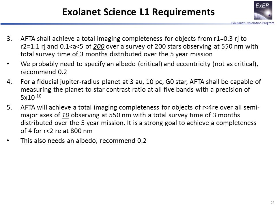 ExoPlanet Exploration Program 25 3.AFTA shall achieve a total imaging completeness for objects from r1=0.3 rj to r2=1.1 rj and 0.1<a<5 of 200 over a s