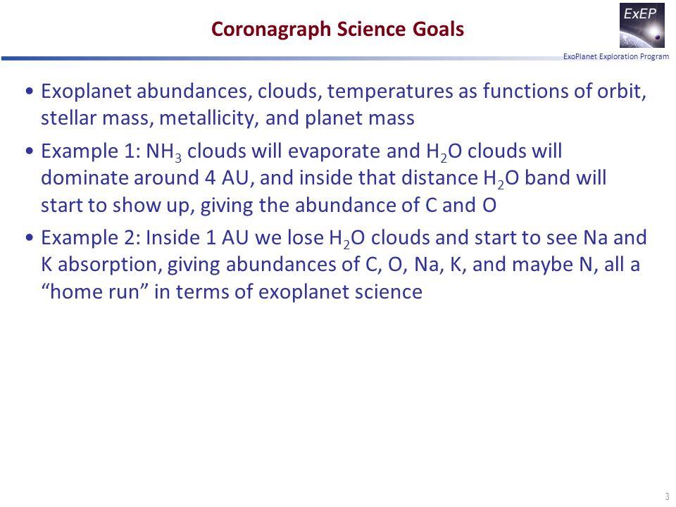 ExoPlanet Exploration Program Coronagraph Science Goals Exoplanet abundances, clouds, temperatures as functions of orbit, stellar mass, metallicity, a