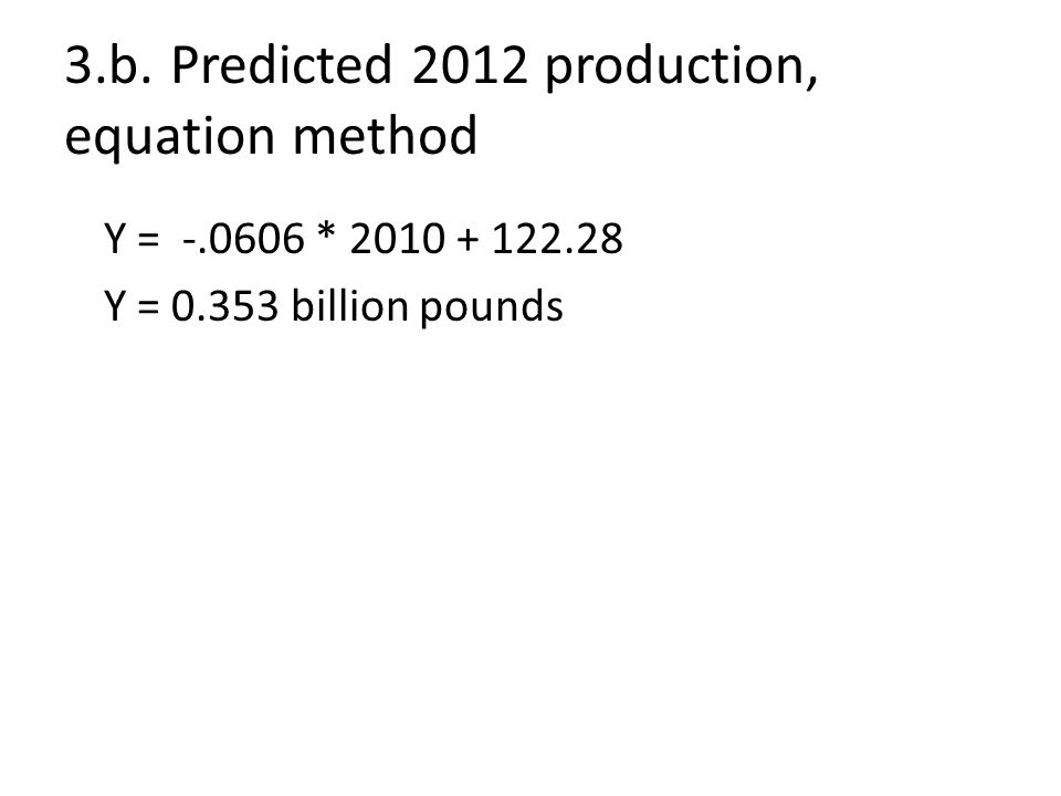 3.b.Predicted 2012 production, equation method Y = -.0606 * 2010 + 122.28 Y = 0.353 billion pounds