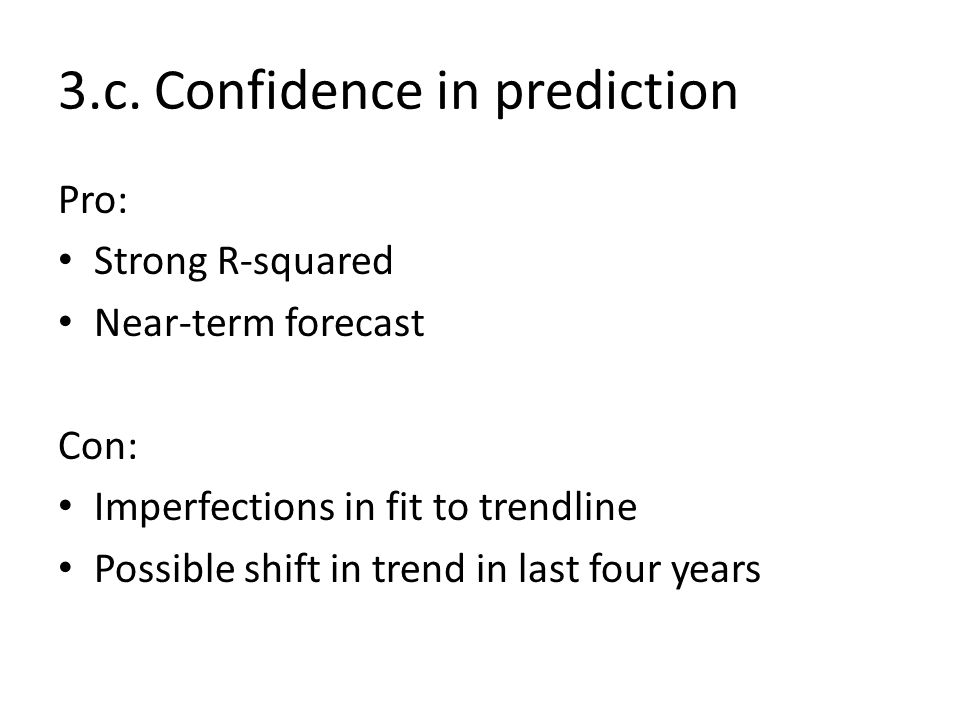 Pro: Strong R-squared Near-term forecast Con: Imperfections in fit to trendline Possible shift in trend in last four years