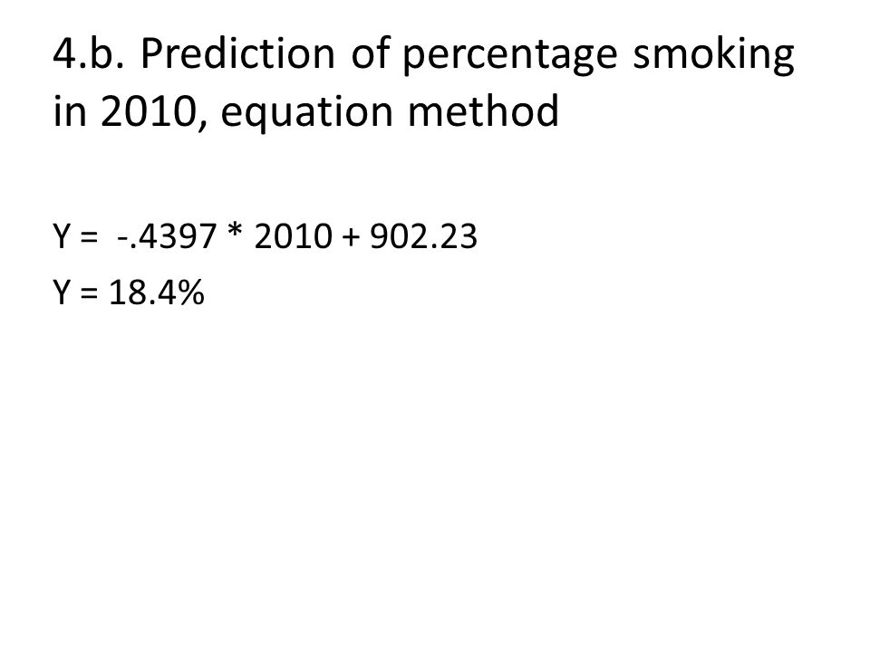 4.b.Prediction of percentage smoking in 2010, equation method Y = -.4397 * 2010 + 902.23 Y = 18.4%