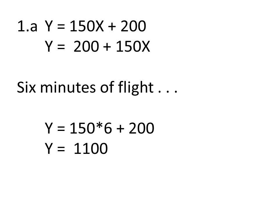 1.b. Car rental Y =.06X + 29 Y = 29 +.06X Rental for 200 miles... Y =.06 * 200 + 29 Y = $41.00