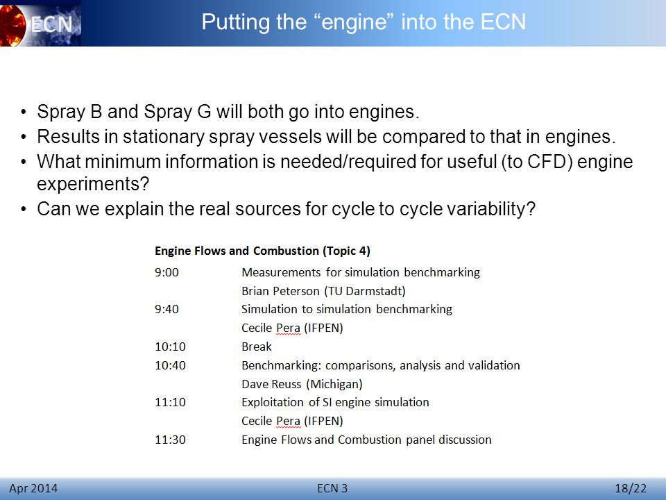 Click to edit Master title style ECN 3 18/22 Apr 2014 Spray B and Spray G will both go into engines.