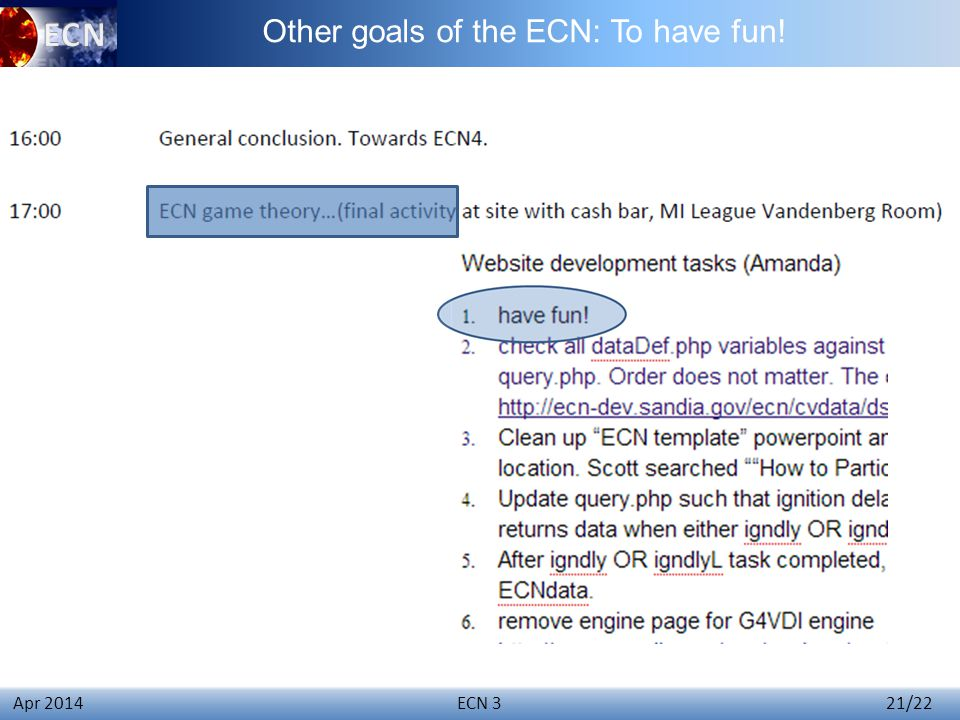 Click to edit Master title style ECN 3 21/22 Apr 2014 Other goals of the ECN: To have fun!