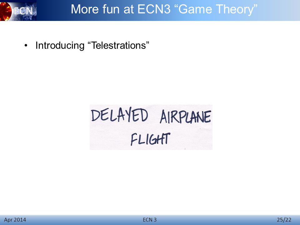 ECN 3 25/22 Apr 2014 Introducing Telestrations More fun at ECN3 Game Theory