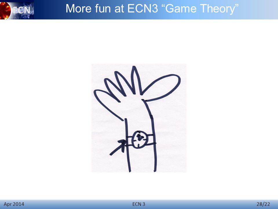 ECN 3 28/22 Apr 2014 More fun at ECN3 Game Theory