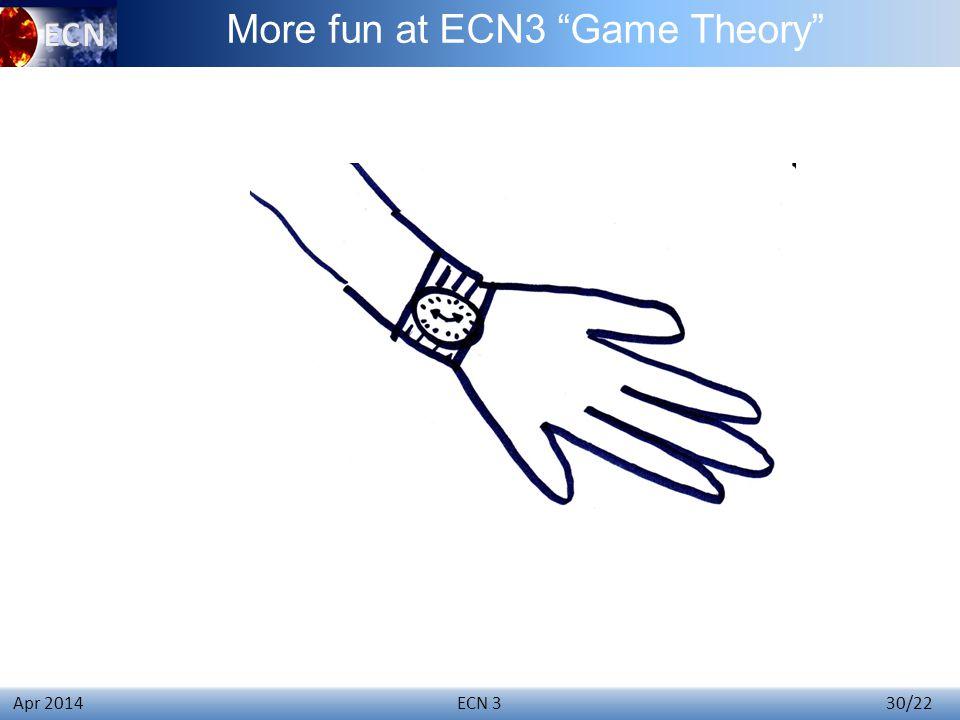 ECN 3 30/22 Apr 2014 More fun at ECN3 Game Theory