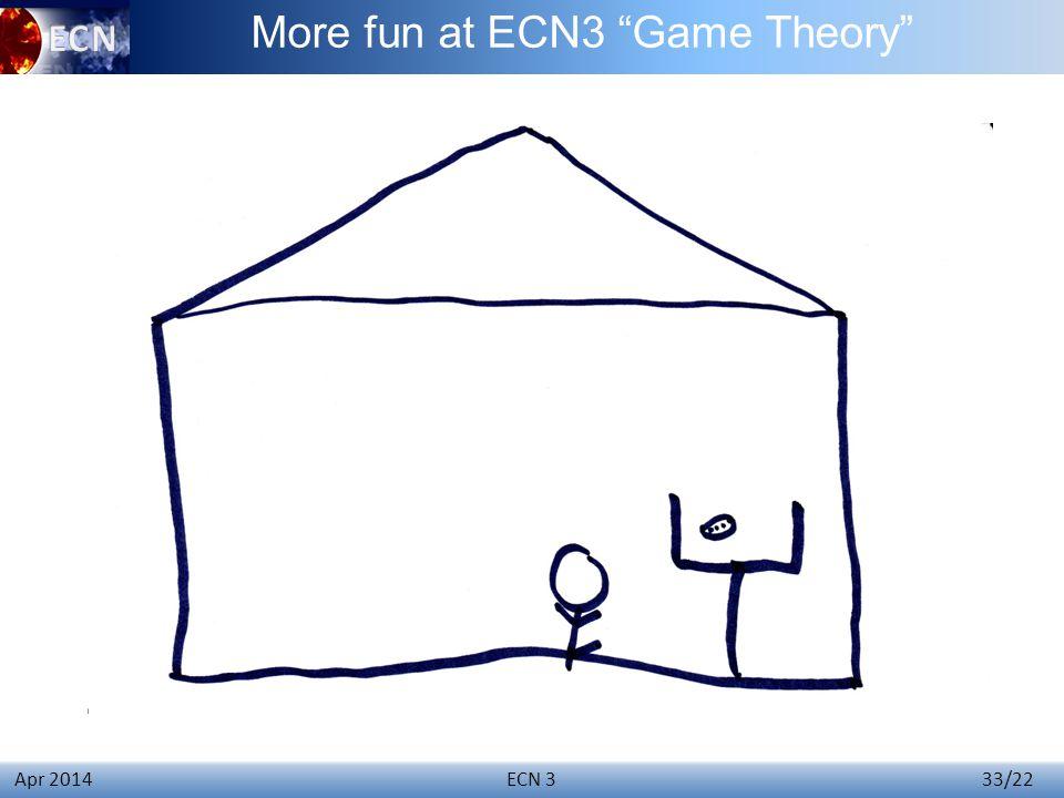 ECN 3 33/22 Apr 2014 More fun at ECN3 Game Theory