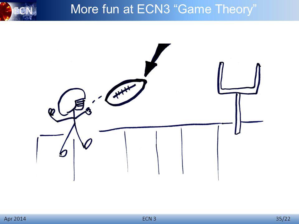 ECN 3 35/22 Apr 2014 More fun at ECN3 Game Theory