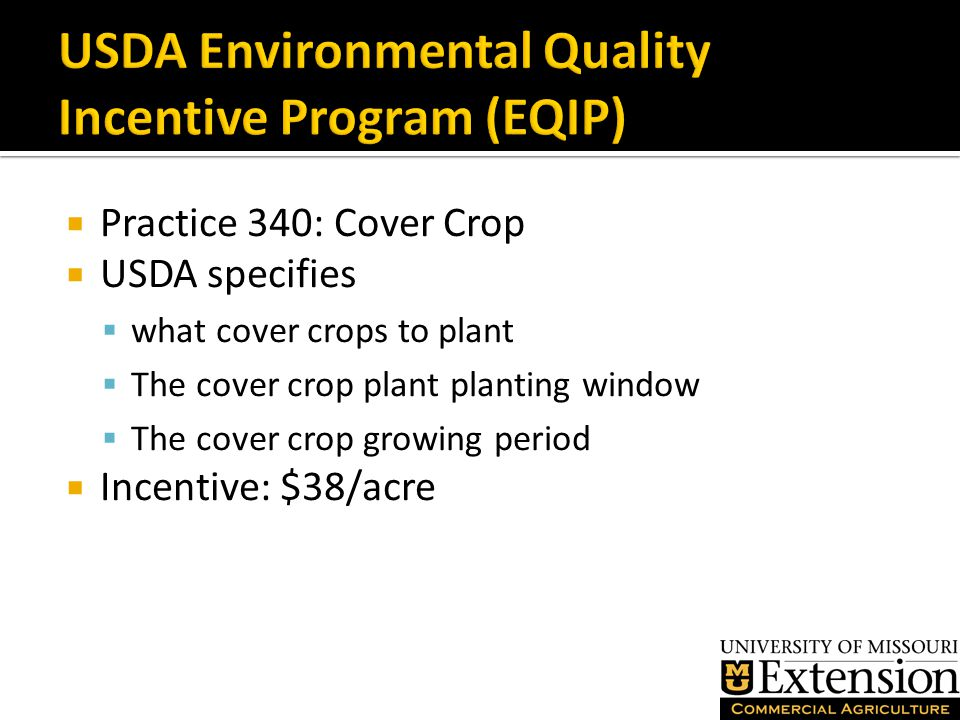  Practice 340: Cover Crop  USDA specifies  what cover crops to plant  The cover crop plant planting window  The cover crop growing period  Incentive: $38/acre