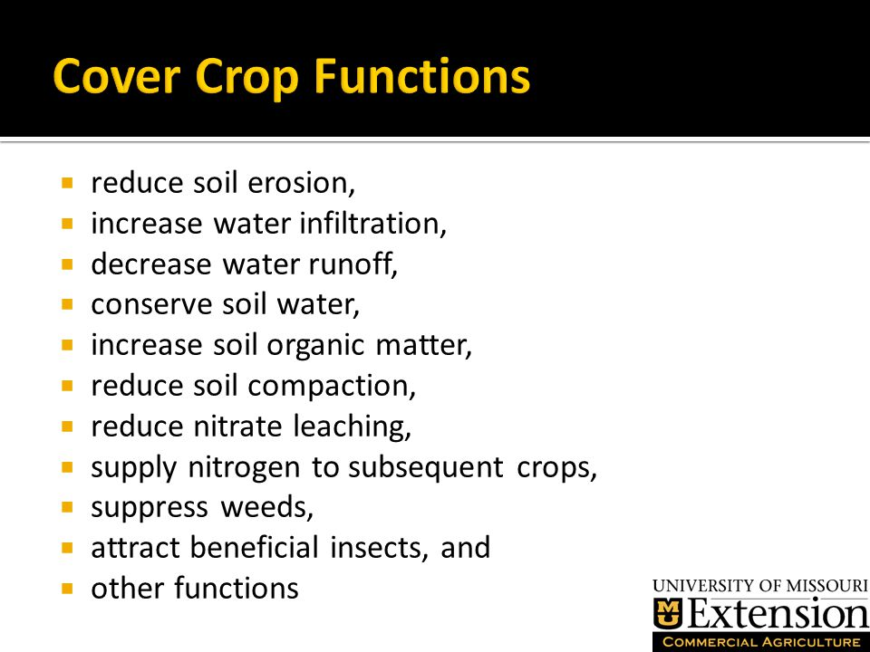  reduce soil erosion,  increase water infiltration,  decrease water runoff,  conserve soil water,  increase soil organic matter,  reduce soil compaction,  reduce nitrate leaching,  supply nitrogen to subsequent crops,  suppress weeds,  attract beneficial insects, and  other functions