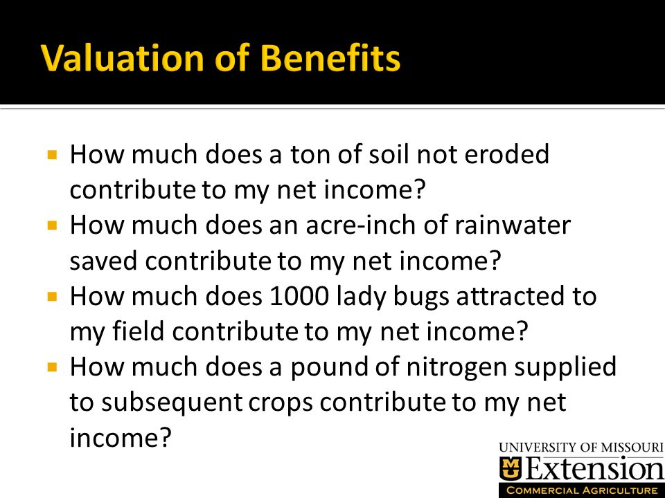  Nitrogen saved or fixed from a cover crop that reduces my fertilizer bill on the next crop.
