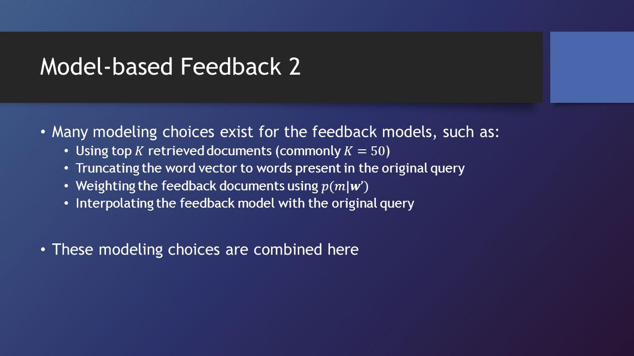 Model-based Feedback 2