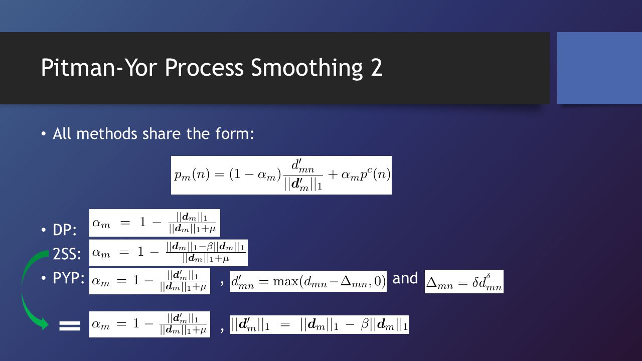 Pitman-Yor Process Smoothing 2 All methods share the form: DP: 2SS: PYP:, and,