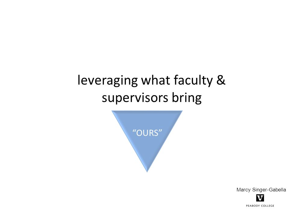 leveraging what faculty & supervisors bring OURS Marcy Singer-Gabella