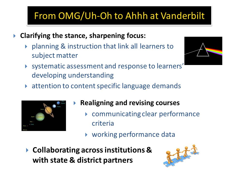 From OMG/Uh-Oh to Ahhh at Vanderbilt  Realigning and revising courses  communicating clear performance criteria  working performance data  Clarifying the stance, sharpening focus:  planning & instruction that link all learners to subject matter  systematic assessment and response to learners' developing understanding  attention to content specific language demands  Collaborating across institutions & with state & district partners