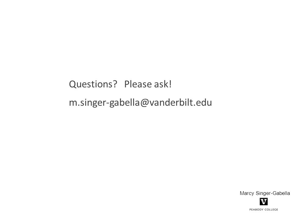 Questions? Please ask! m.singer-gabella@vanderbilt.edu Marcy Singer-Gabella