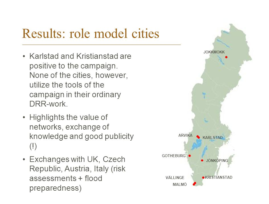 Results: role model cities Karlstad and Kristianstad are positive to the campaign.