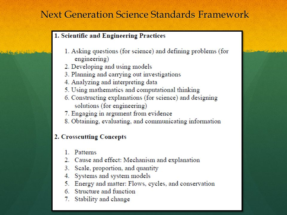 Next Generation Science Standards Framework