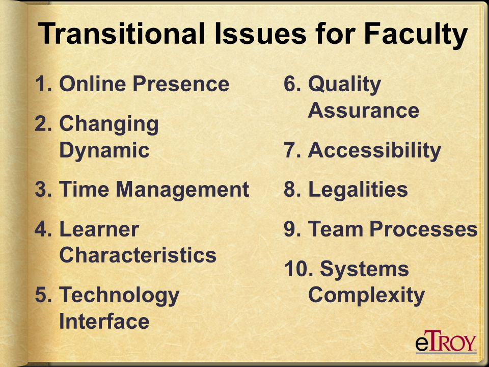Transitional Issues for Faculty 1.Teaching Presence 2.Changing Dynamic 3.Time Management 4.Learner Characteristics 5.Technology Interface 6.