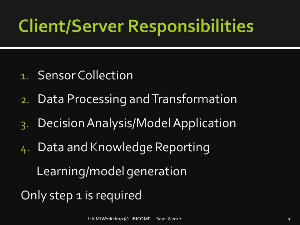 1. Sensor Collection 2. Data Processing and Transformation 3. Decision Analysis/Model Application 4. Data and Knowledge Reporting Learning/model gener