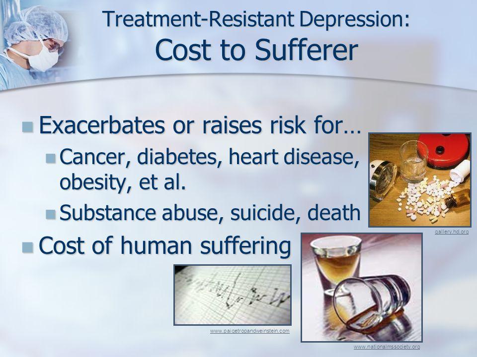 Treatment-Resistant Depression: Cost to Sufferer Exacerbates or raises risk for… Exacerbates or raises risk for… Cancer, diabetes, heart disease, obesity, et al.