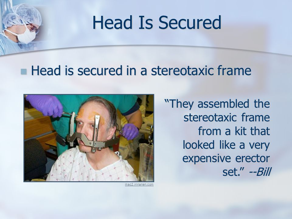 Head Is Secured Head is secured in a stereotaxic frame Head is secured in a stereotaxic frame They assembled the stereotaxic frame from a kit that looked like a very expensive erector set. --Bill mac2.innanen.com