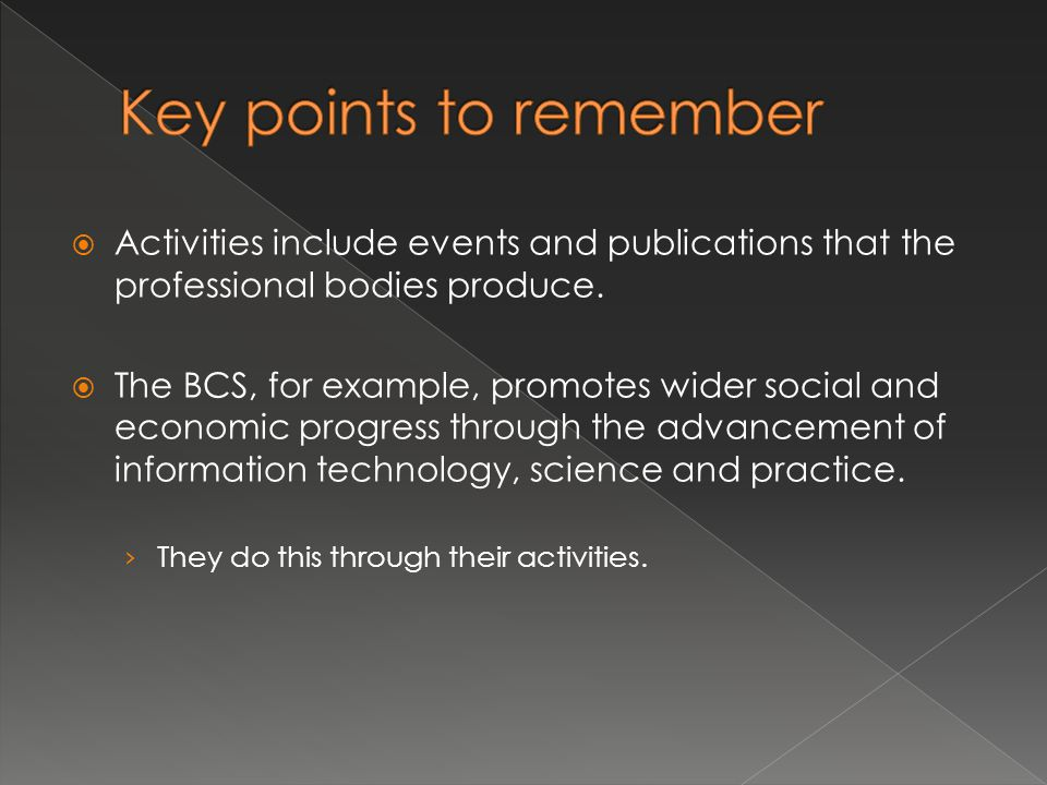  Activities include events and publications that the professional bodies produce.  The BCS, for example, promotes wider social and economic progress