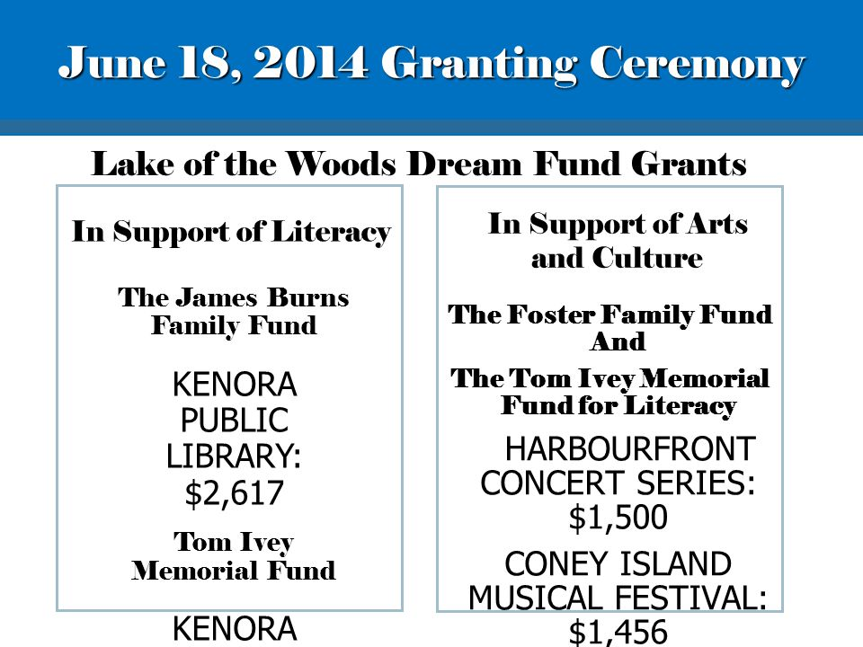 In Support of Literacy The James Burns Family Fund KENORA PUBLIC LIBRARY: $2,617 Tom Ivey Memorial Fund KENORA PUBLIC LIBRARY: $300 Lake of the Woods