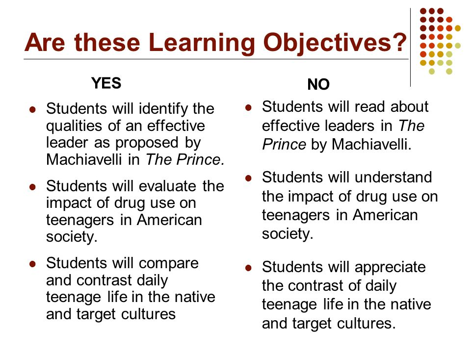 Are these Learning Objectives? Students will identify the qualities of an effective leader as proposed by Machiavelli in The Prince. Students will eva