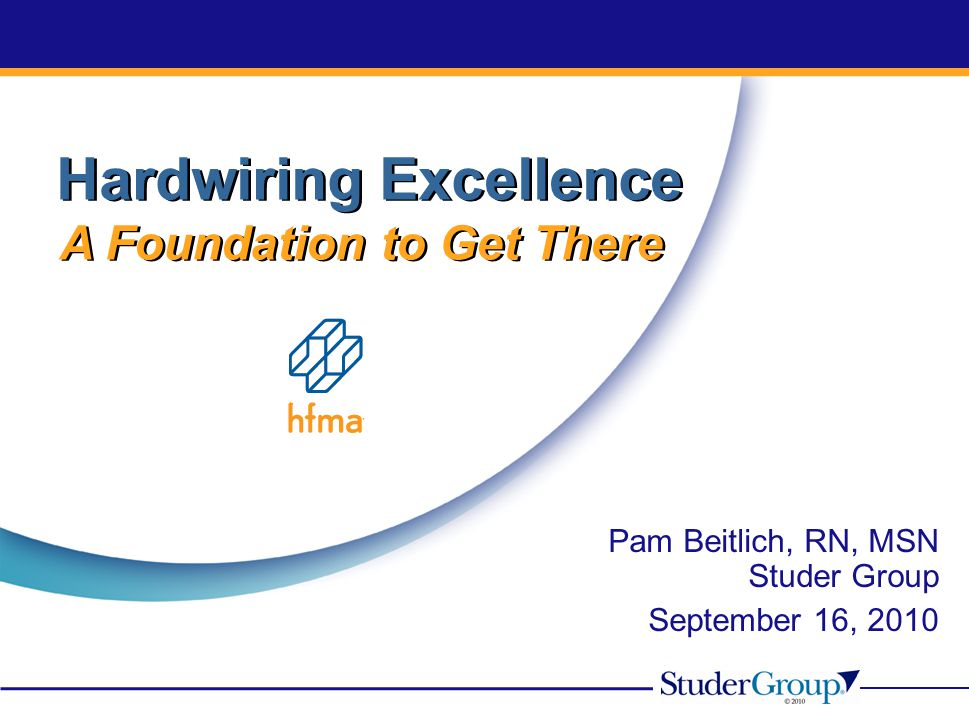 Pam Beitlich, RN, MSN Studer Group September 16, 2010 Hardwiring Excellence A Foundation to Get There Hardwiring Excellence A Foundation to Get There